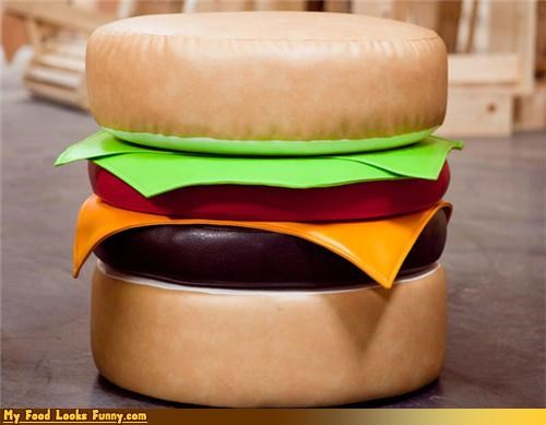burger cheeseburger furniture layers leather ottoman - 4321279744