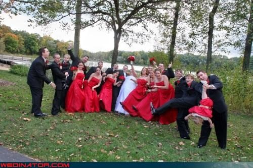 bride,dangling child,fashion is my passion,funny wedding party picture,funny wedding photos,good wedding party picture,groom,miscellaneous-oops,red bridesmaids dresses,surprise,technical difficulties,upside down baby,wedding party,wtf