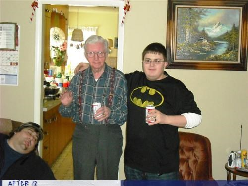 batman,beer,drunk,Grandpa,passed out,thomas kincaid