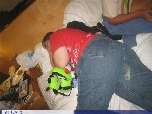 bed,condom,gross,passed out