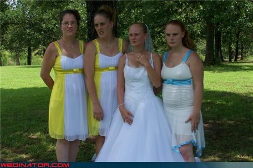 bride,colorblocking fail,Crazy Brides,fashion is my passion,funny wedding photos,inbred,inbred bridesmaids,tacky,tacky bridesmaid dresses,ugly bridesmaids dresses,wtf