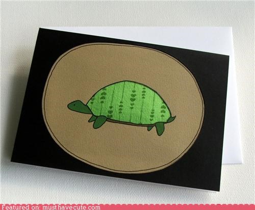 card fabric hearts stationary turtle - 4326807296