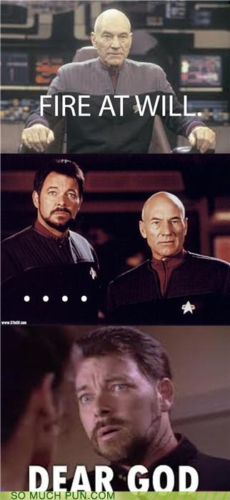 comic,expression,fire at will,literalism,saying,Star Trek,Star trek the next generation,will riker