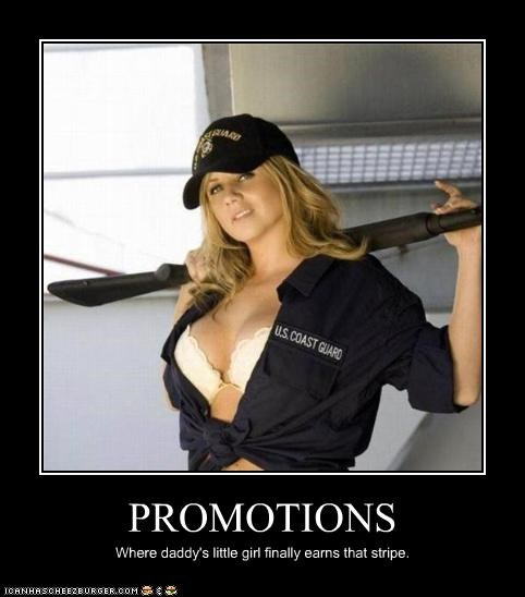 PROMOTIONS Where daddy's little girl finally earns that stripe.