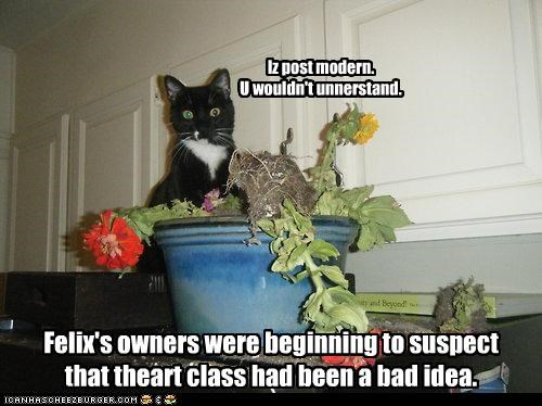 art,bad idea,caption,captioned,cat,class,condescending,explanation,Flower,flower pot,pot,suspicion