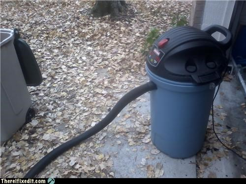 leaves raking leaves trash can tube vacuum