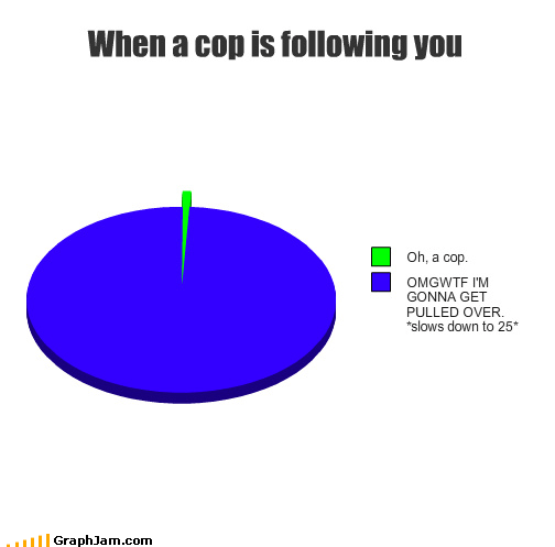 cops driving paranoia Pie Chart speeding traffic