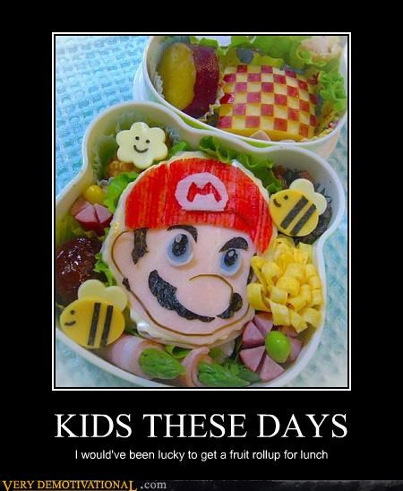 food,kids,kids suck,lunch,mario,nom nom nom