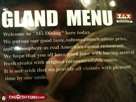 All menus are gland menus if you think about it