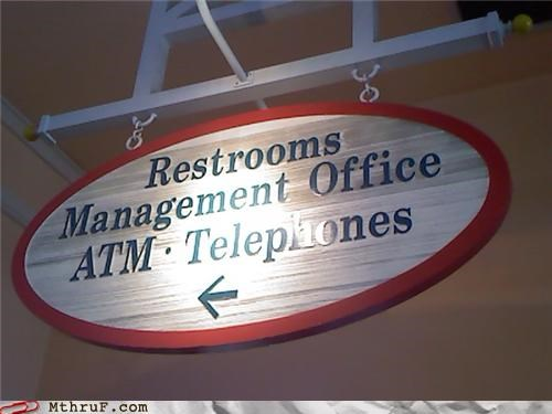 ATM,bathroom,management,telephones