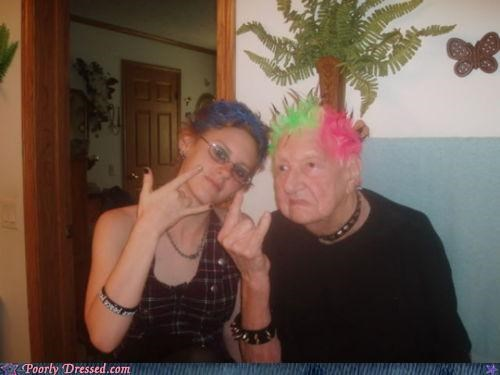 dyed hair,grandma,old lady,punk rock