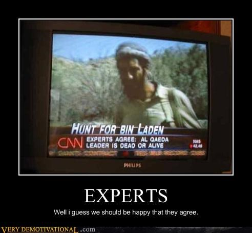 agree,al qaeda,cnn,dead or alive,experts,idiots,Osama Bin Laden
