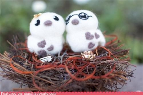 birds cake topper craft felted handmade wedding - 4330287360