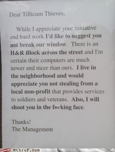 note,signs,thank you,thief,tldr,window