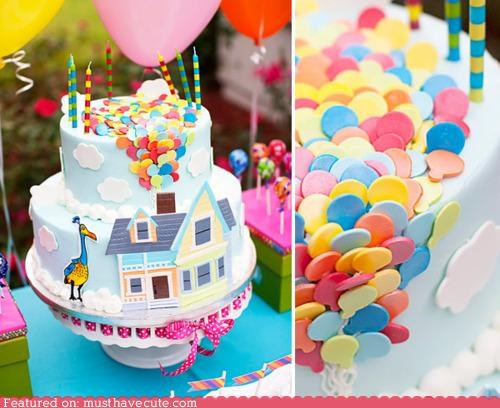 Balloons bird birthday cake epicute house up - 4330782464