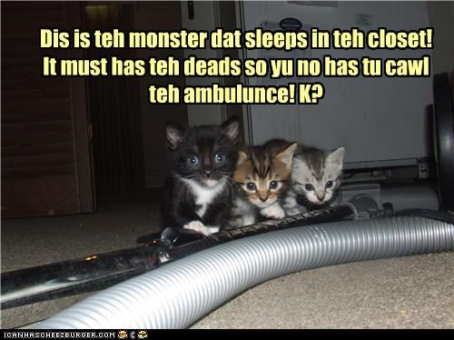 ambulance,call,caption,captioned,cat,Cats,closet,dead,do not,kitten,monster,sleeping,sleeps,vacuum