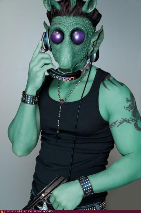 art douche fist pump greedo guido headphones no-wonder-he-didnt-shoot-first star wars wtf - 4331310848
