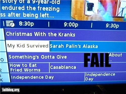 bad idea,children,failboat,g rated,juxtaposition,oh alaska,politics,Sarah Palin,shows,survivors,television,they will never be the same,tv guide