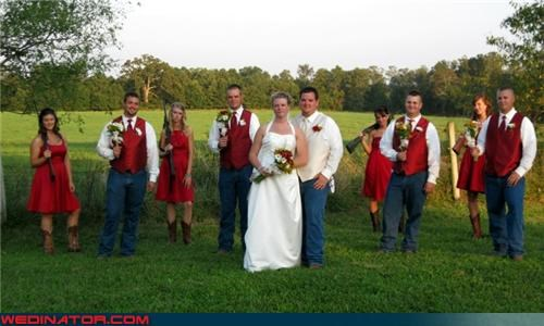 armed bridesmaids,bride,bridesmaids with guns,Crazy Brides,cute wedding picture,fashion is my passion,funny wedding photos,groom,make love not war,red vest,shotgun wedding,wedding party,wedding party picture