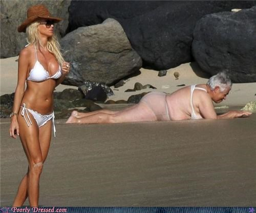 beach bikini old guy old lady undies wtf