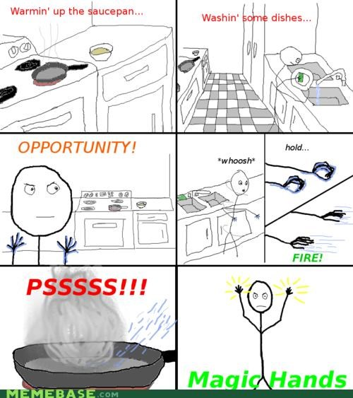 dishes kitchen magic Memes pan sizzle water wizard - 4333453312