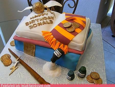 birthday cake coins epicute fondant Harry Potter potions scarf wand - 4333556736