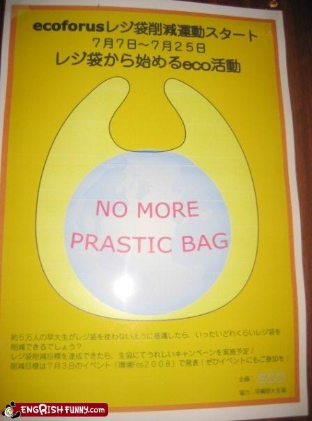 bag bags grocery store plastic recycle reduce re-use sign warning - 4334955776