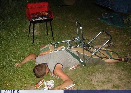 bbq,chair,passed out