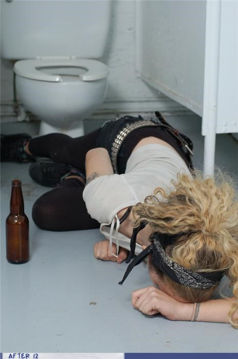 bathroom,drunk,floor,passed out,toilet
