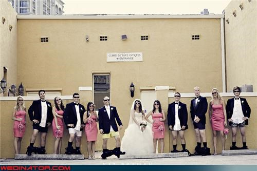 bride confusing wedding party picture Crazy Brides crazy groom eww fashion is my passion funny wedding party picture funny wedding photos groom pantsless pantsless groomsmen surprise too cool for school too cool wedding party were-in-love wedding party wedding party wearing sunglasses wtf