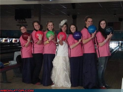 bowling balls wedding party,bowling themed bride,bowling themed bridesmaids,bowling themed wedding,bowling themed wedding party,bride,Crazy Brides,fashion is my passion,funny bride picture,funny bridesmaids picture,funny wedding photos,wedding party,Wedding Themes,wtf