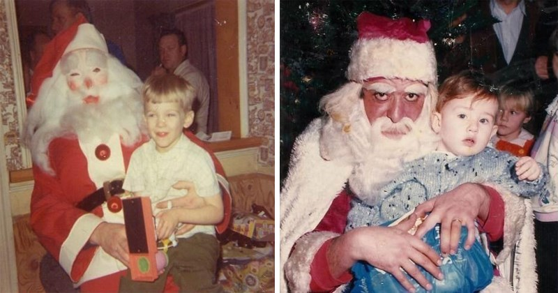 Creepy photos of children with Santa celebrating christmas, scary santas, scary santa claus, creepy santa claus.