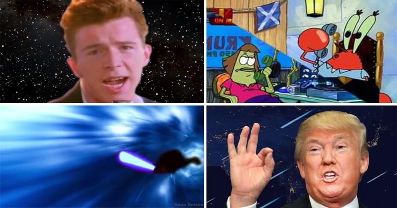 Best Shooting Stars memes of 2017, Donald Trump, Spongebob, lord of the rings, alex jones, star wars, anakin, obi-wan, prequel memes, bag raiders.