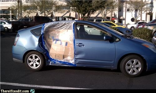 door,duct,duct tape,plastic wrap,Prius