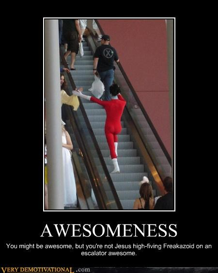 awesome,costume,escalator,freakazoid,high five,jesus