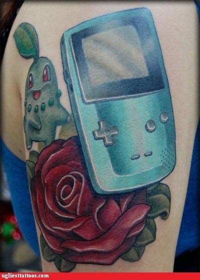gameboys,Pokémon,tattoos,roses
