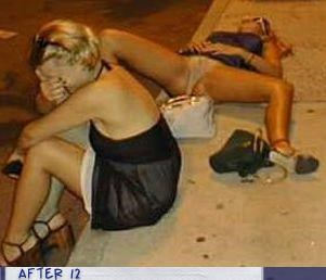girls,lady like,passed out,sidewalk
