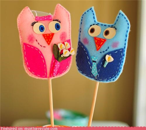 cake topper custom felt hand made owls veil wedding - 4339424512