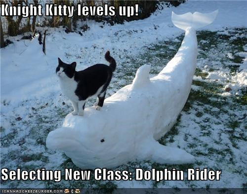 caption captioned cat class dolphin level up new rider RPG selecting snow snowman - 4339948544