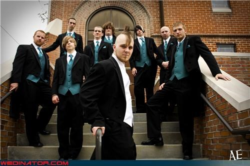 bad boy groomsmen bieber hair blue vests cheesy groomsmen photo crazy groom dapper groomsmen emo fashion is my passion funny groomsmen picture funny wedding photos Groomsmen justin bieber mohawk groom wedding party