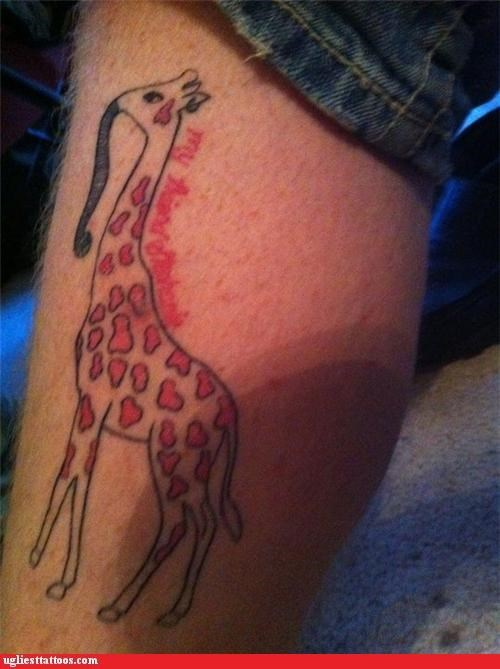elephants giraffes wtf tattoos - 4340593408