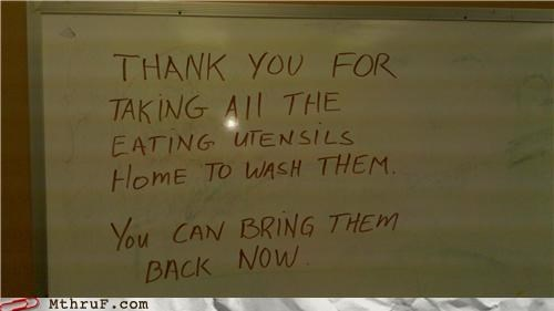 dishwasher,dry erase,note,passive aggressive,utensils