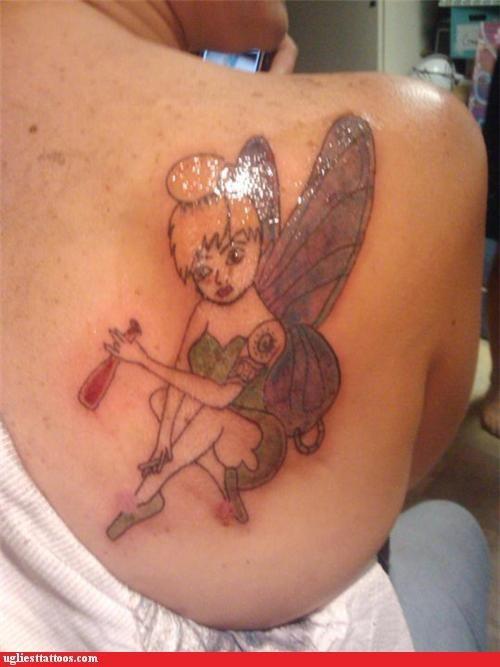 disney drinking tinkerbell tattoos Ugliest Tattoos - 4340755200
