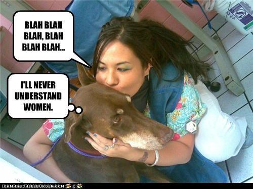 blah blah blah confused doberman pinscher gibberish human mixed breed never talking understand woman women - 4341003264