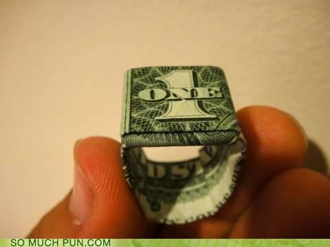 dollar dollar bill folded literalism Lord of the Rings mordor one ring shape the one ring