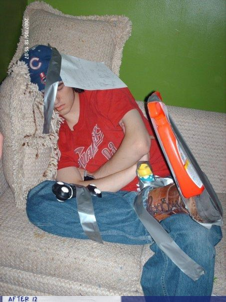 comfortable drunk duct tape passed out stacking - 4341683200