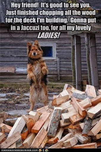 Hey friend! It's good to see you. Just finished chopping all the wood for the deck I'm building. Gonna put in a Jaccuzi too, for all my lovely LADIES!