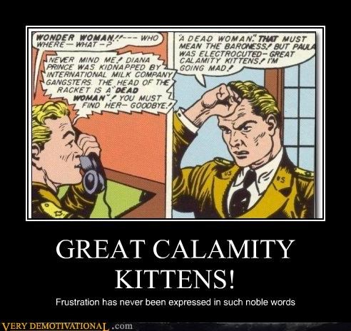 GREAT CALAMITY KITTENS! Frustration has never been expressed in such noble words