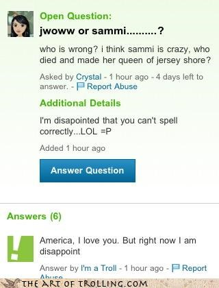 disappoint,jersey shore,JWoww,sammi,spelling,Yahoo Answer Fails