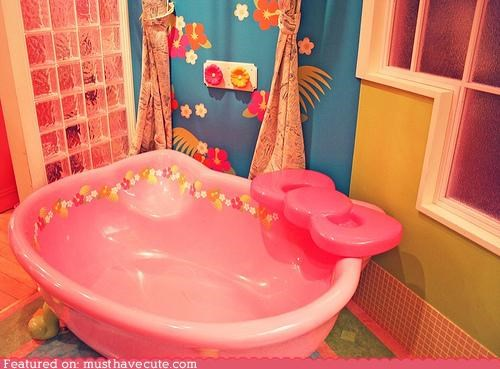 appliance bath decor fixture furniture hello kitty pink tub